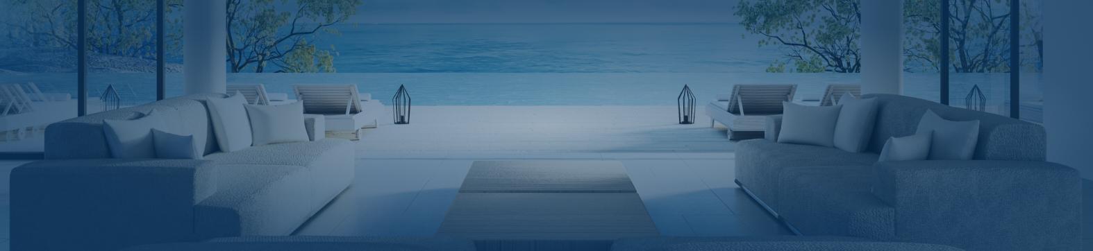 Salon donnant sur piscine