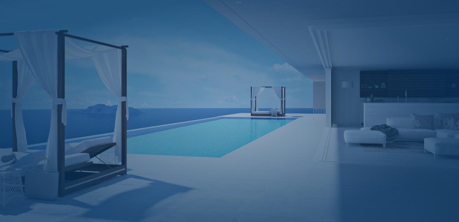 Vue intérieure d'une véranda donnant sur piscine